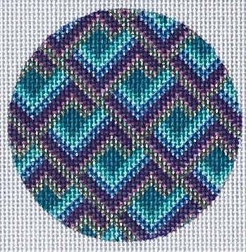 click here to view larger image of Bargello Round Ornament (hand painted canvases)