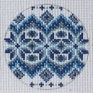 click here to view larger image of Blue/White/Silver Round Ornament (hand painted canvases)