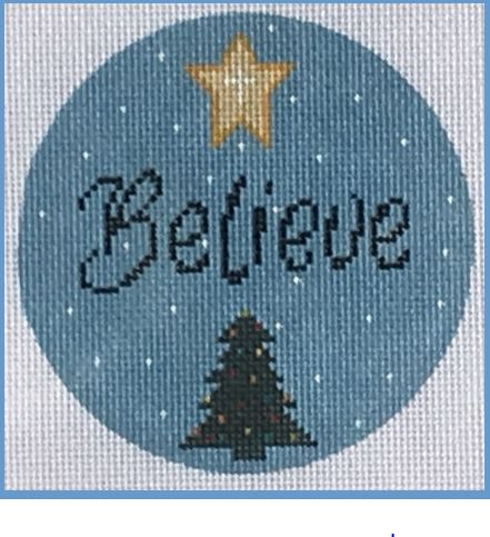 click here to view larger image of Believe Ornament (hand painted canvases)