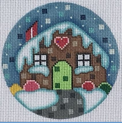 click here to view larger image of Gingerbread House Ornament (hand painted canvases)