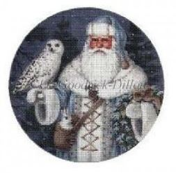 click here to view larger image of Blue Arctic Santa w/Arctic Owl - 18ct (hand painted canvases)