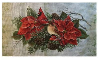 click here to view larger image of Cardinals in Poinsettias (hand painted canvases)