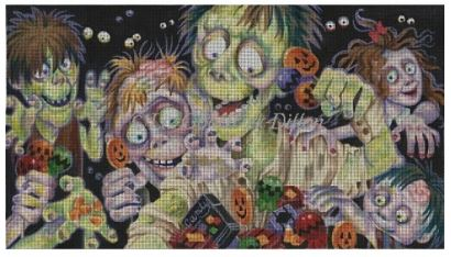 click here to view larger image of Zombies Like Candy (hand painted canvases)