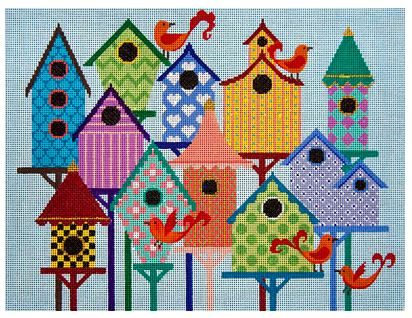 click here to view larger image of Bird City (hand painted canvases)