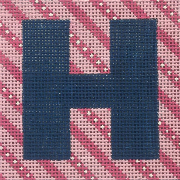 click here to view larger image of Navy Letter On Pink Stripes Monogram (hand painted canvases)