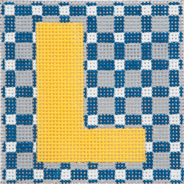 click here to view larger image of Yellow Letter On Grey Squares Monogram (hand painted canvases)