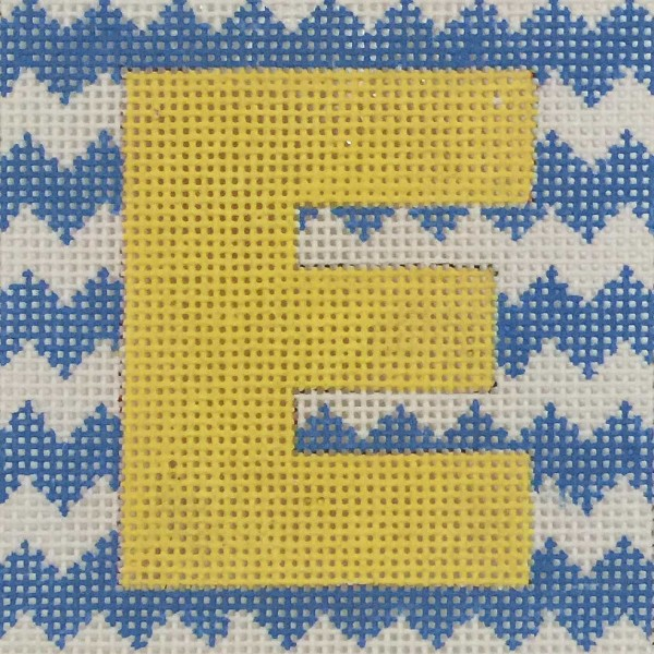 click here to view larger image of Yellow Letter On Blue Chevron Monogram (hand painted canvases)