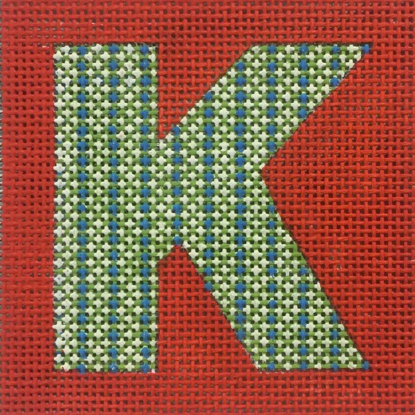 click here to view larger image of Patterned Letter On Red Monogram (hand painted canvases)