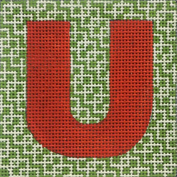 click here to view larger image of Red Letter On Green Pattern Monogram (hand painted canvases)