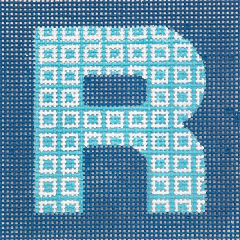 click here to view larger image of Letter With Squares On Navy Monogram (hand painted canvases)