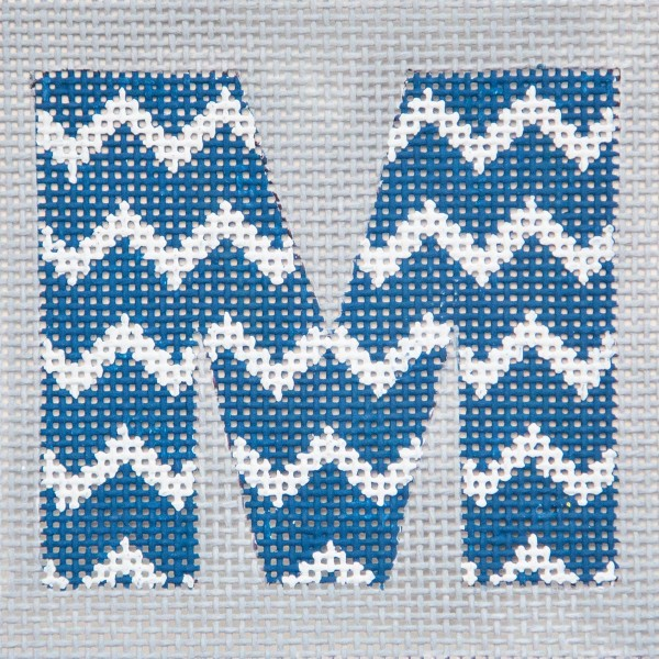 click here to view larger image of Blue/White Chevron Monogram (hand painted canvases)