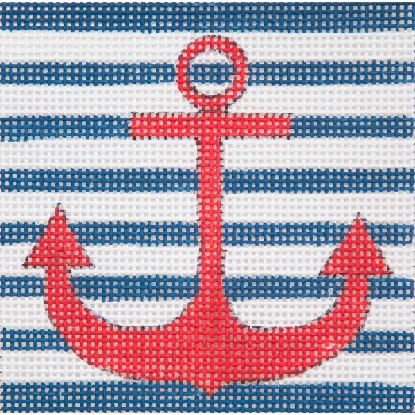 click here to view larger image of Anchor On Blue Monogram (hand painted canvases)
