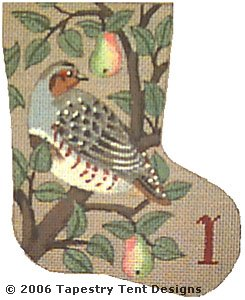 click here to view larger image of Partridge - Day 1 Mini Stocking (hand painted canvases)