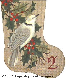 click here to view larger image of Turtle Dove - Day 2 Mini Stocking (hand painted canvases)