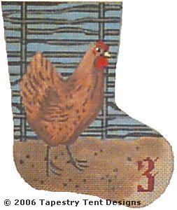 click here to view larger image of French Hen - Day 3 Mini Stocking (hand painted canvases)