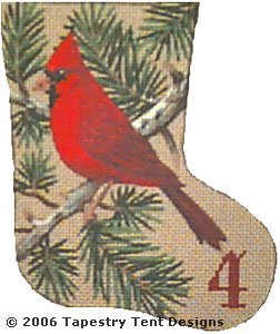 click here to view larger image of Calling Bird - Day 4 Mini Stocking (hand painted canvases)