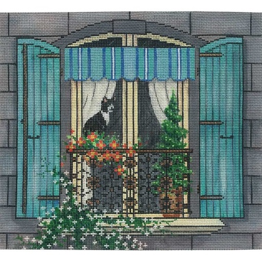 click here to view larger image of Cat In A City Window (hand painted canvases)