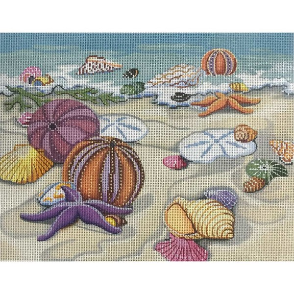 click here to view larger image of Seashells On Shore (hand painted canvases)