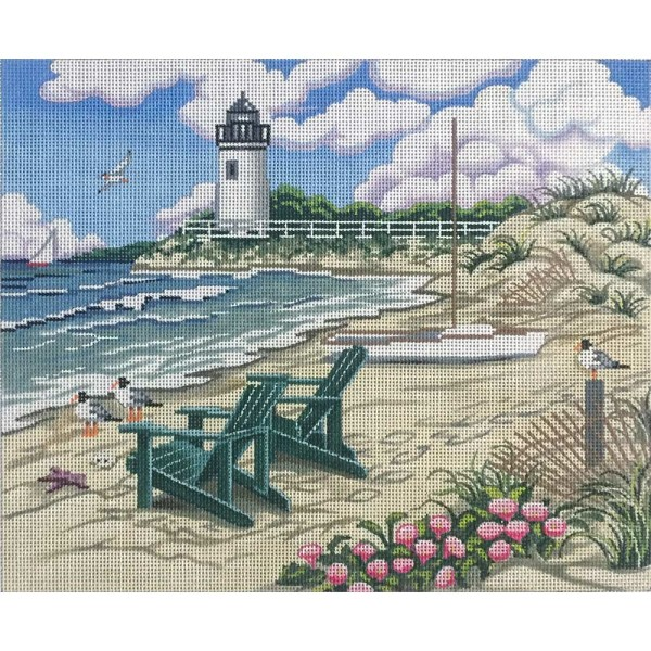 click here to view larger image of Beach Scene With Lighthouse (hand painted canvases)