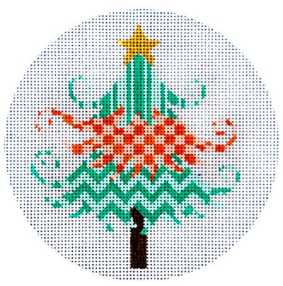 click here to view larger image of Peach and Turquoise Christmas Tree (hand painted canvases)