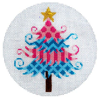 click here to view larger image of Pink and Blue Christmas Tree (hand painted canvases)