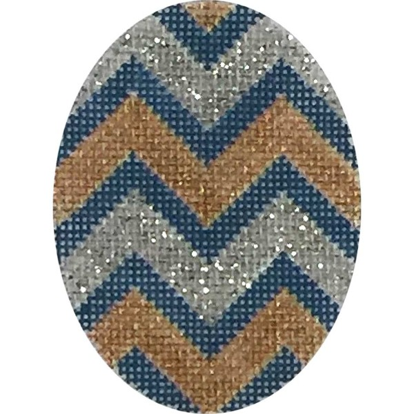click here to view larger image of Blue Gold Silver Chevron Oval (hand painted canvases)