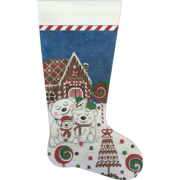 click here to view larger image of Gingerbread and Polar Bears Stocking (hand painted canvases)