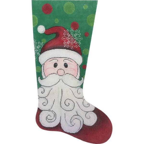 click here to view larger image of Happy Santa Stocking (hand painted canvases)