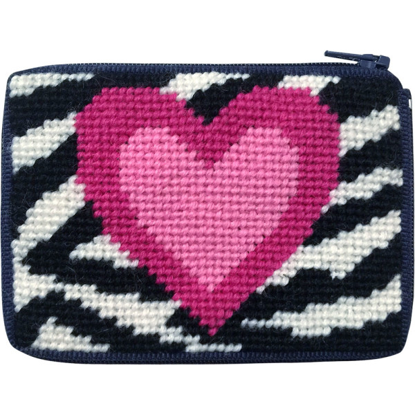 click here to view larger image of Zebra Heart Coin Case (needlepoint kits)