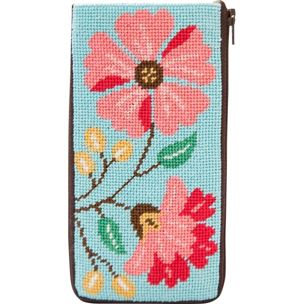 click here to view larger image of Pink Flowers Eyeglass Case (needlepoint kits)