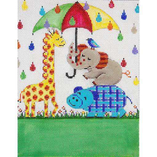 click here to view larger image of Its Raining Birth Announcement (hand painted canvases)