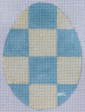click here to view larger image of Blue Checkered Egg (hand painted canvases)