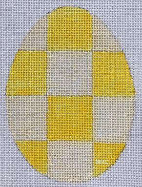 click here to view larger image of Yellow Checkered Egg (hand painted canvases)