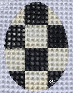 click here to view larger image of Black Checkered Egg (hand painted canvases)