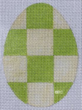 click here to view larger image of Green Checkered Egg (hand painted canvases)