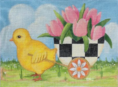 click here to view larger image of Chick Pulling Checkered Egg Basket (hand painted canvases)