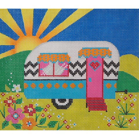 click here to view larger image of Small Summer Travel Trailer (hand painted canvases)