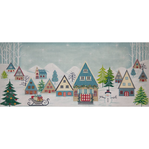 click here to view larger image of Elongated Winter Scene (hand painted canvases)