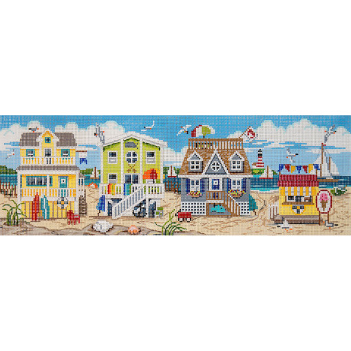 click here to view larger image of Beach House Scene (hand painted canvases)