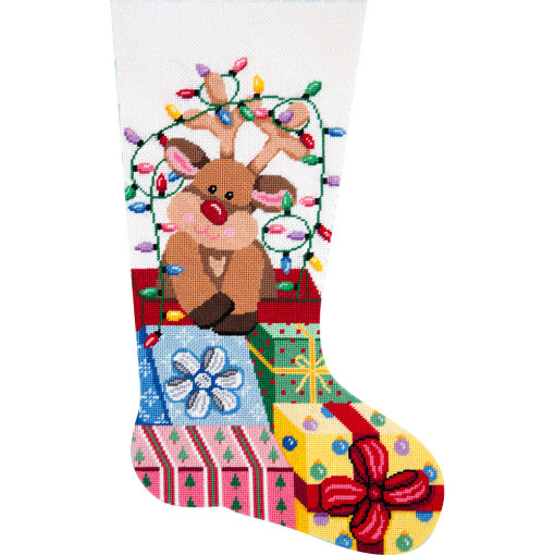 click here to view larger image of Gift Wrapped Reindeer Stocking (needlepoint kits)