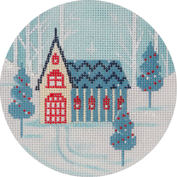 click here to view larger image of Winter Scene Church Ornament (hand painted canvases)