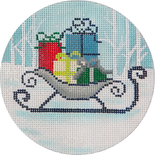 click here to view larger image of Winter Scene Sleigh Ornament (hand painted canvases)