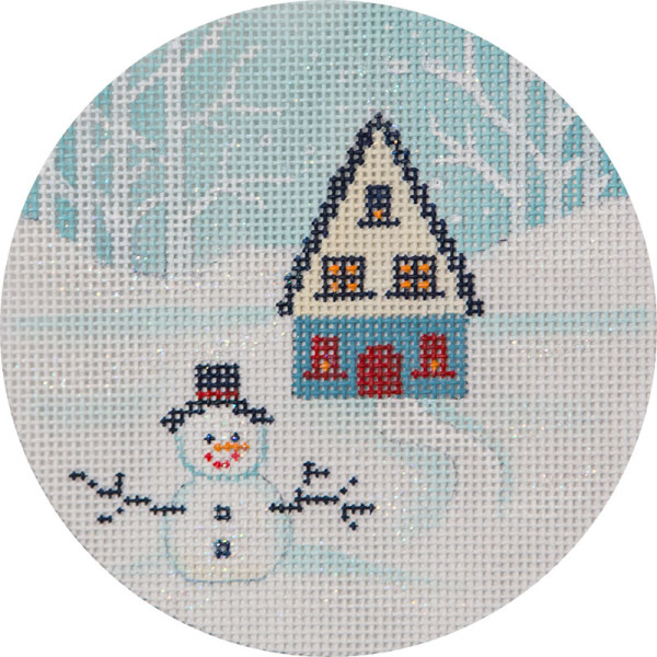 click here to view larger image of Winter Scene House And Snowman Ornament (hand painted canvases)