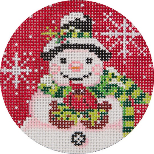 click here to view larger image of Snowman On Red Ornament (hand painted canvases)