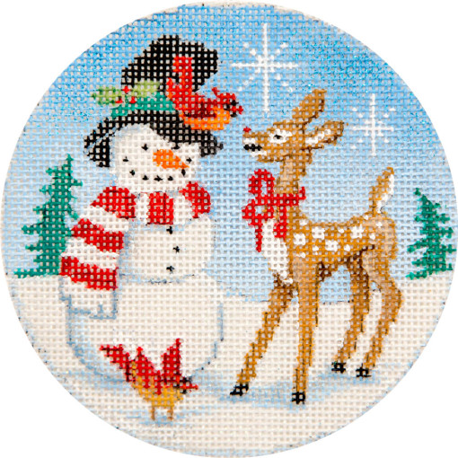 click here to view larger image of Snowman and Rudolph Ornament (hand painted canvases)