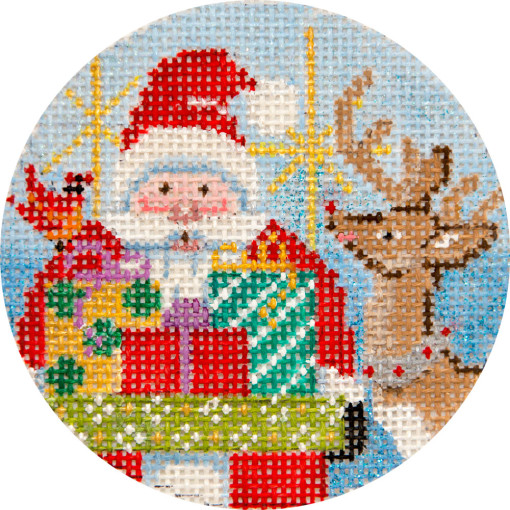 click here to view larger image of Santa and Reindeer Ornament (hand painted canvases)