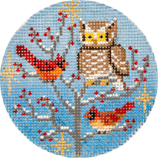 click here to view larger image of Owl and Cardinals Ornament (hand painted canvases)