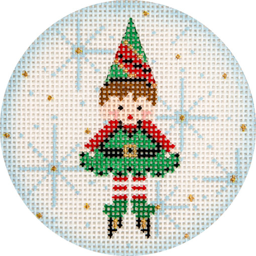 click here to view larger image of Elf and Snowflake Ornament (hand painted canvases)