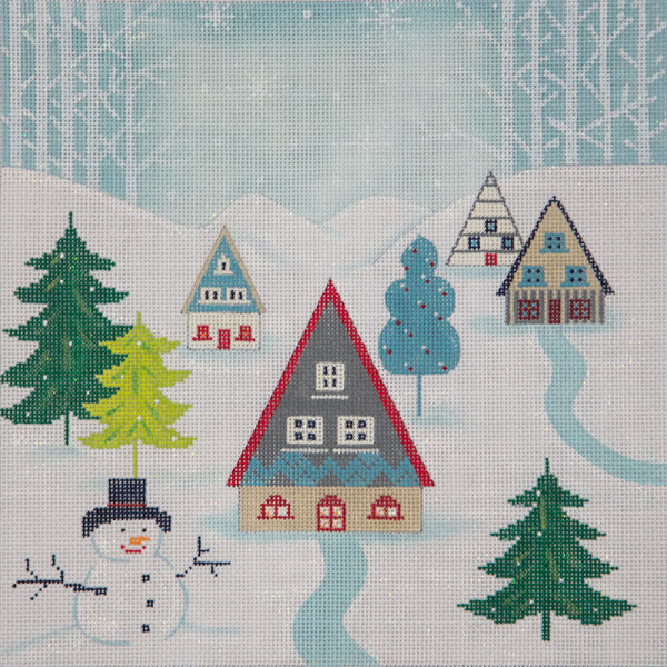 click here to view larger image of Winter Scene Pillow II (hand painted canvases)