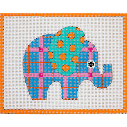 click here to view larger image of Blue Patterned Elephant (hand painted canvases)